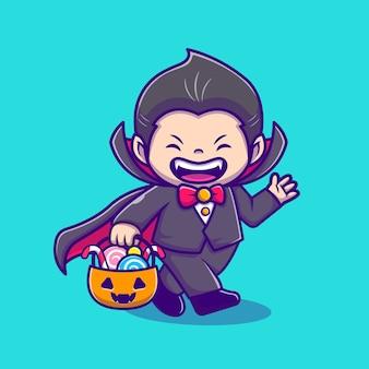Dracula mignon tenant le panier de citrouille avec illustration d'icône de dessin animé de bonbons. concept d'icône de vacances de personnes isolé. style de bande dessinée plat