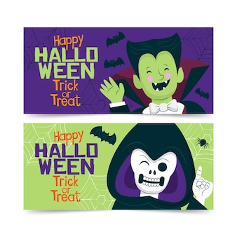 Dracula et le modèle de bannière halloween faucheuse