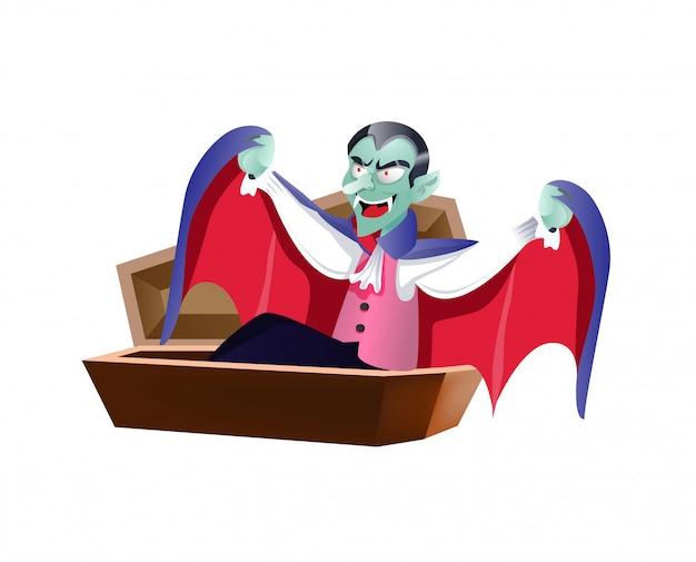 Dracula se réveillant dans un cercueil