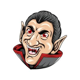 Dracula seulement une tête posée avec son grand sourire et ses longues oreilles