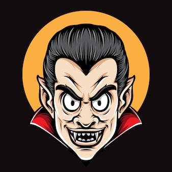 Dracula tête personnage de vecteur de dessin animé