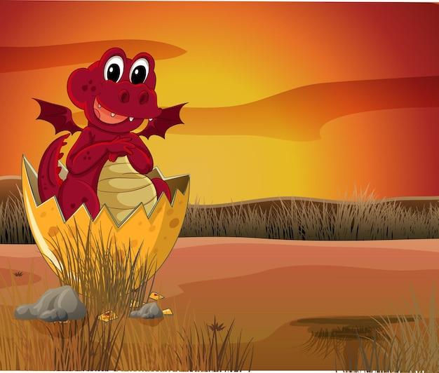 Dragon avec des ailes d'oeufs à couver