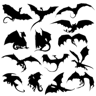 Dragon animal mithogoly silhouette clip art vecteur