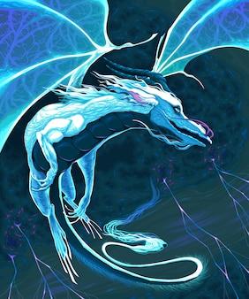 Dragon blanc volant dans la tempête