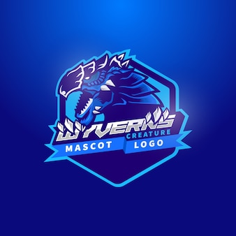 Dragon bleu tête mascotte logo wyvern mythologie créature