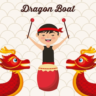 Dragon boat festival chineese homme tambour musique traditionnelle