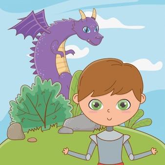 Dragon et chevalier de conte de fées