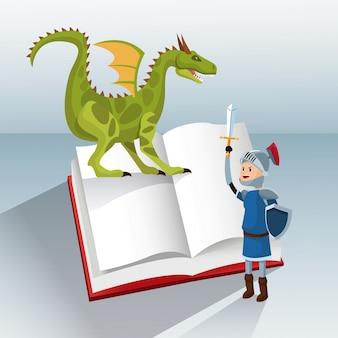 Dragon chevalier livre conte fantastique