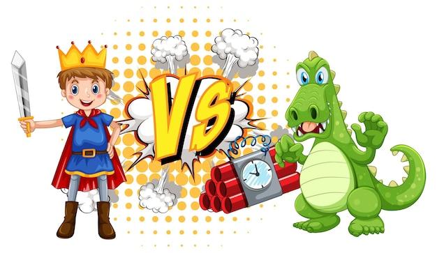 Dragon et chevalier se battant sur fond blanc