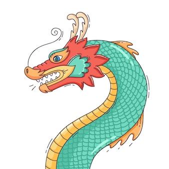 Dragon chinois coloré dessiné à la main