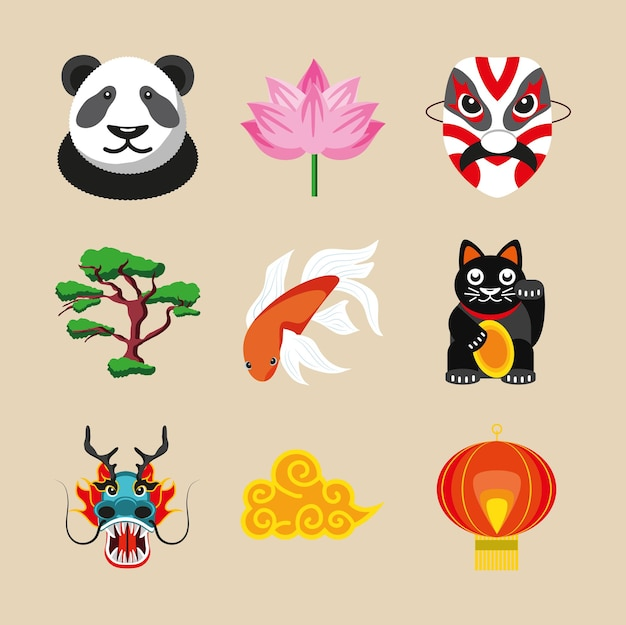Dragon chinois de lanterne de bonsaï de panda