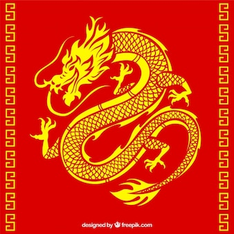 Dragon chinois traditionnel avec design de la silhouette
