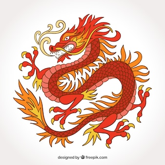 Dragon chinois traditionnel dans un style dessiné à la main