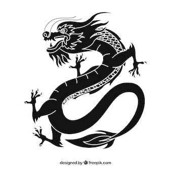 Dragon chinois traditionnel avec design de la silhouette