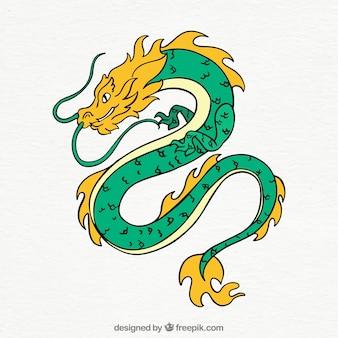 Dragon chinois traditionnel dessiné à la main