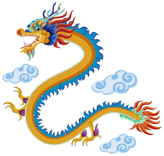 Dragon chinois volant au-dessus des nuages isolé sur fond blanc