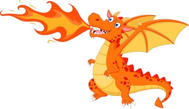 Dragon en colère avec le feu