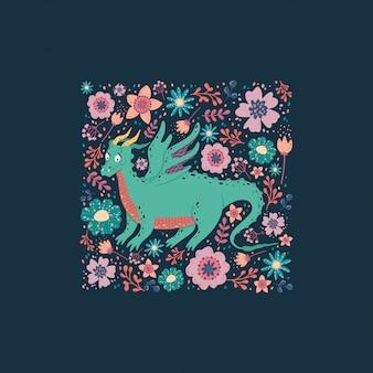 Dragon avec la conception de cartes de fleurs. fond enfantin avec un dragon dans un cadre carré.