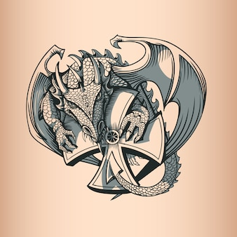 Dragon avec croix