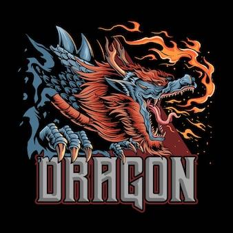 Un dragon de la culture japonaise qui dégage du feu