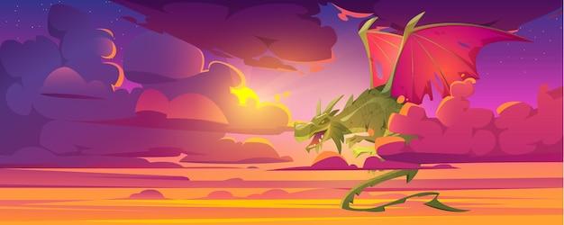 Dragon dans un ciel nuageux