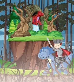 Dragon dans la forêt
