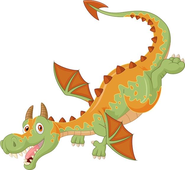 Dragon de dessin animé heureux battant
