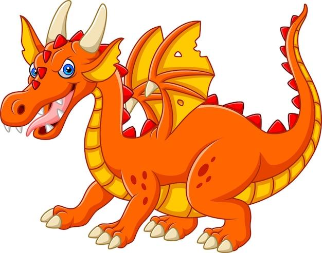 Dragon de dessin animé isolé sur fond blanc