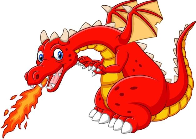 Dragon de dessin animé posant avec le feu