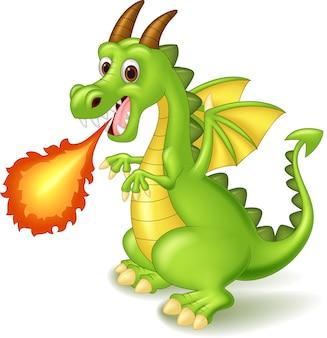 Dragon dessin animé posant avec le feu