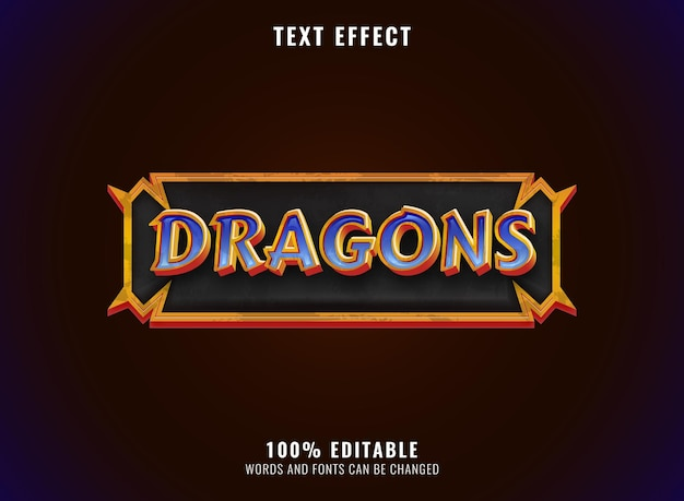 Dragon de diamant doré fantastique avec effet de texte de titre de logo de jeu de cadre rpg