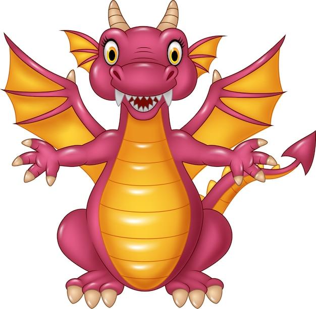 Dragon drôle de dessin animé isolé sur fond blanc