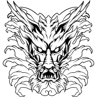 Le dragon d'eau japon silhouette