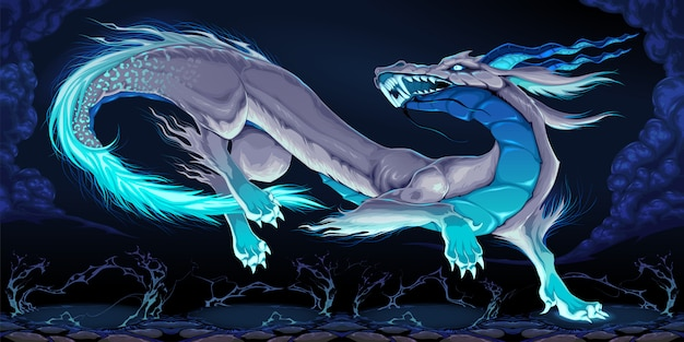 Dragon élégant dans la nuit