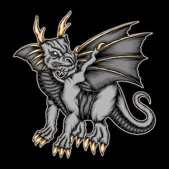 Dragon fantastique de vecteur cool. vecteur de prime