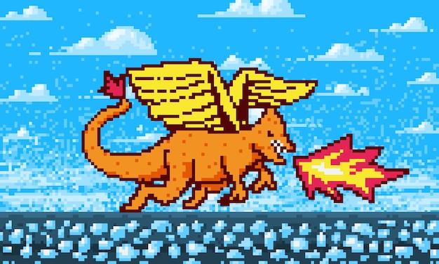 Dragon de feu et fond de nuages