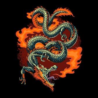Le dragon de feu laissa échapper une rafale de feu