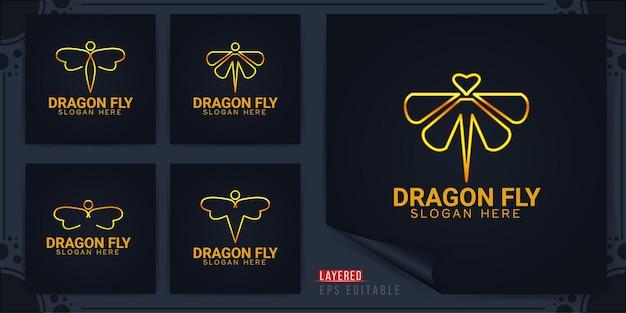 Dragon fly papillon logo