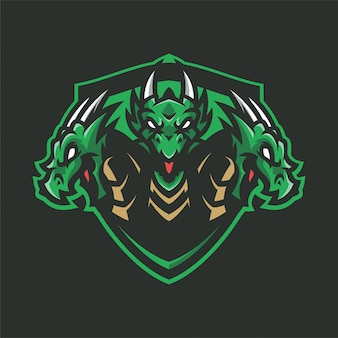 Dragon hydra mascot head logo sport