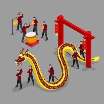 Dragon isométrique du nouvel an chinois
