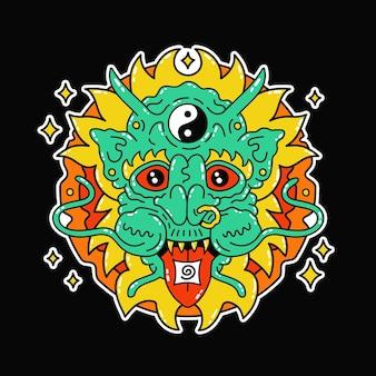 Dragon magique psychédélique drôle avec marque acide lsd sur la langue. feuille de marijuana contre les mauvaises herbes vector doodle ligne dessin animé kawaii personnage illustration icône. dragon trippy magique, imprimé acide sur affiche, t-shirt