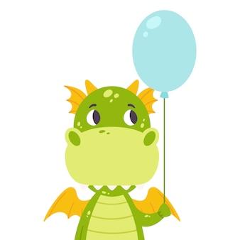 Dragon mignon avec un ballon.