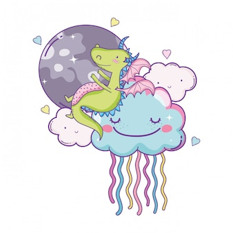 Dragon mignon sur les dessins animés de nuages