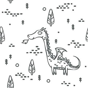 Dragon mignon avec fond de fantaisie simple et moderne