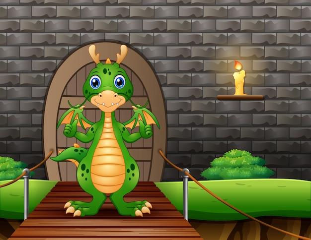Un dragon montrant le pouce levé et debout sur un pont suspendu