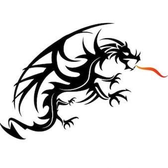 Dragon noir crachant du feu