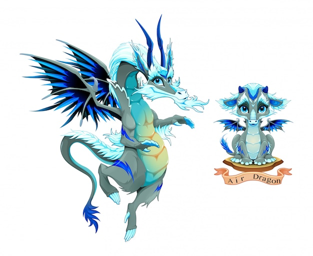 Dragon of air element, chiot et adulte