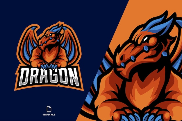 Dragon orange avec logo mascotte aile
