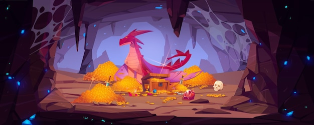 Dragon protège la pile d'or dans la grotte, trésor de garde de personnage fantastique dans la caverne de montagne