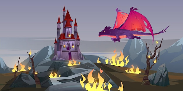 Dragon qui respire le feu attaque le château